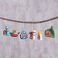 Ceramic ornaments, 'Village Nativities' (set of 6) - Six Hand-Painted Ceramic Nativity Scene Ornaments from Peru