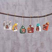 Ceramic ornaments, 'Local Nativity' (set of 6) - Six Ceramic Nativity Scene Ornaments Hand-Painted in Peru