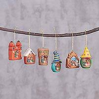 Ceramic ornaments, 'Andean Hope' (set of 6) - Set of Six Ceramic Nativity Scene Ornaments from Peru