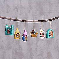 Ceramic ornaments, 'Andean Festivities' (set of 6) - Set of Six Andean Ceramic Nativity Ornaments from Peru