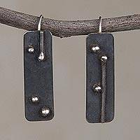 Sterling silver drop earrings, 'Silver Secrets' - Oxidized Sterling Silver Drop Earrings from Peru