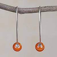 Agate drop earrings, 'Spheres of Splendor' - Orange Agate and Sterling Silver Drop Earrings from Peru