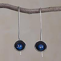 Agate drop earrings, 'Wondrous Galaxy' - Blue Agate and Sterling Silver Drop Earrings from Peru