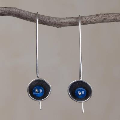 Agate drop earrings, 'Wondrous Galaxy in Blue' - Blue Agate and Sterling Silver Drop Earrings from Peru