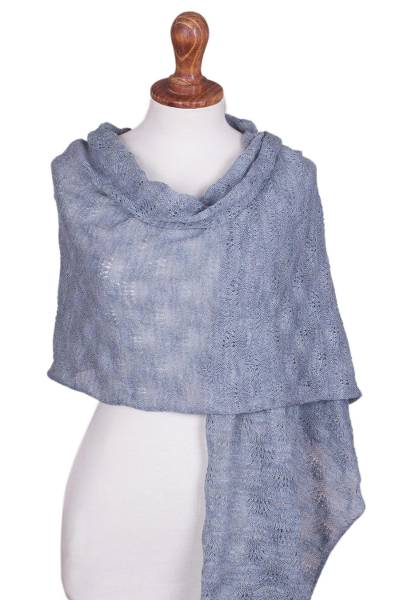 100% baby alpaca shawl, 'Powder Blue Princess' - Hand-Crocheted 100% Baby Alpaca Shawl in Blue from Peru