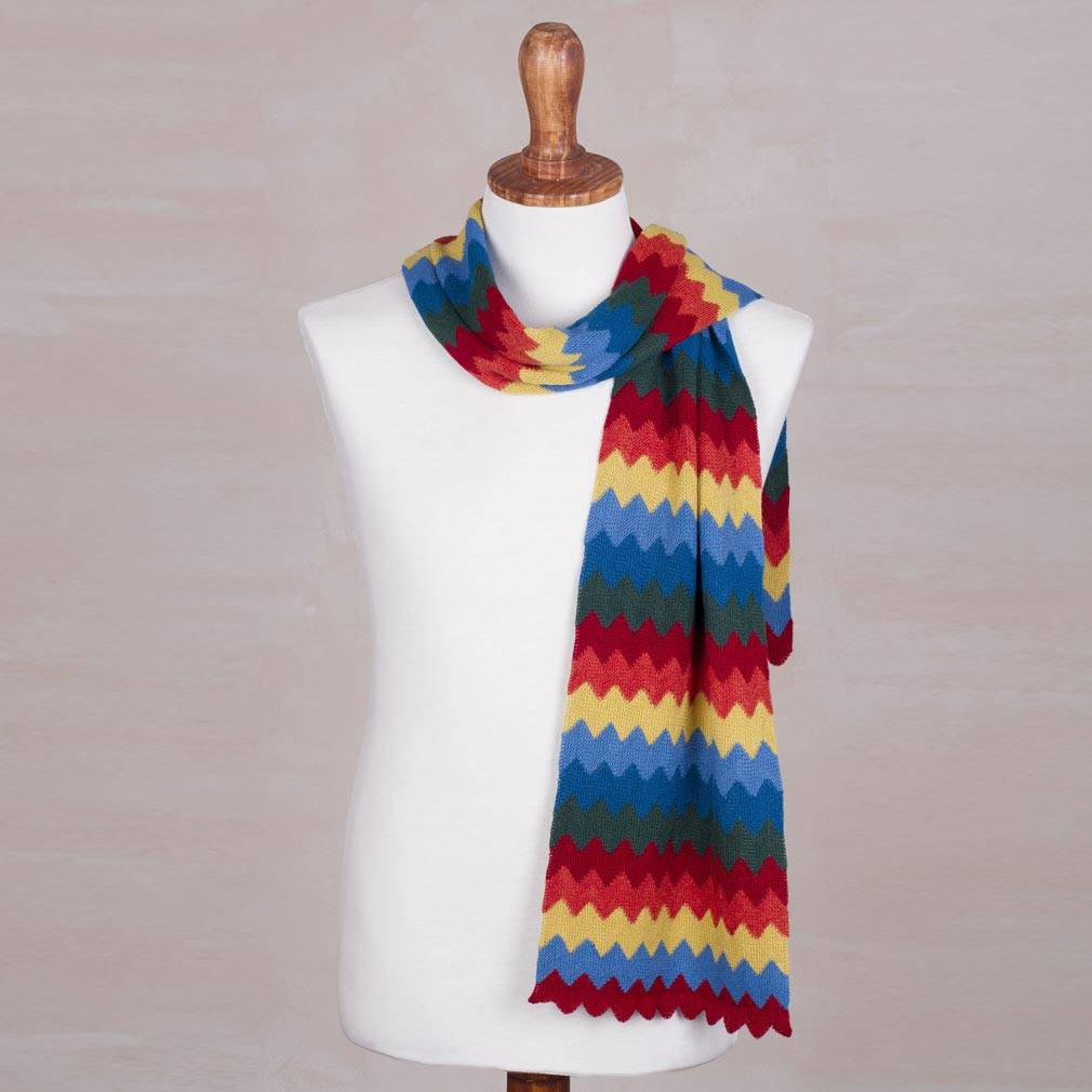 Alpaca blend scarf, 'Zigzag Rainbow' - Multicolored Zigzag Striped Alpaca Blend Scarf from Peru