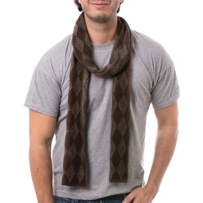 Men's alpaca blend scarf, 'Diamond Brown' - Men's Knit Alpaca Blend Scarf with Brown Diamond Patterns