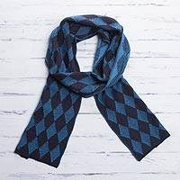 Men's alpaca blend scarf, 'Diamond Blue' - Men's Alpaca Blend Scarf with Blue Diamond Patterns