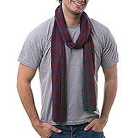 Men's alpaca blend scarf, 'Diamond Sophistication' - Men's Alpaca Blend Scarf in Teal and Cherry from Peru