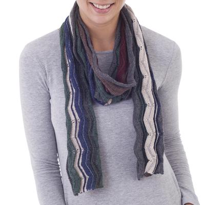 100% baby alpaca scarf, 'Bold Earth' - 100% Baby Alpaca Zigzag Striped Scarf from Peru