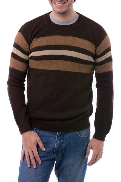 Men's 100% alpaca sweater, 'Mountain Sands' - 100% Alpaca Pullover Sweater for Men in Shades of Brown