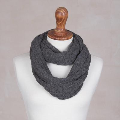 100% baby alpaca infinity scarf, 'Subtle Style in Graphite' - 100% Baby Alpaca Infinity Scarf in Graphite from Peru