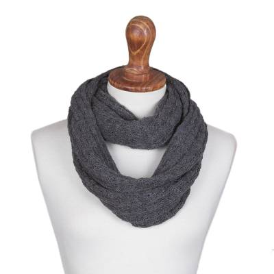 100% baby alpaca infinity scarf, 'Subtle Style in Graphite' - 100% Baby Alpaca Infinity Scarf in Graphite from Peru