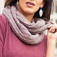 100% baby alpaca infinity scarf, 'Subtle Style in Dusty Rose'