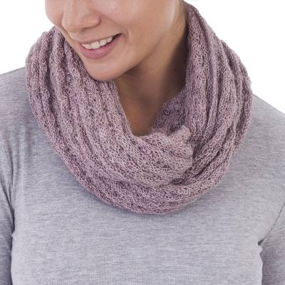 100% baby alpaca infinity scarf, 'Subtle Style in Dusty Rose' - 100% Baby Alpaca Infinity Scarf in Dusty Rose from Peru