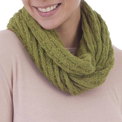 100% baby alpaca infinity scarf, 'Subtle Style in Warm Olive' - 100% Baby Alpaca Infinity Scarf in Warm Olive from Peru