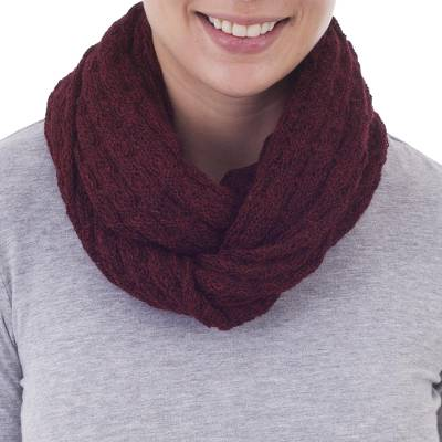 100% baby alpaca infinity scarf, 'Subtle Style in Cherry' - 100% Baby Alpaca Infinity Scarf in Cherry from Peru