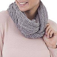 100% baby alpaca infinity scarf, 'Subtle Style in Dove Grey' - 100% Baby Alpaca Infinity Scarf in Dove Grey from Peru