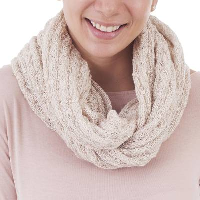 100% baby alpaca infinity scarf, 'Subtle Style in Bone' - 100% Baby Alpaca Infinity Scarf in Bone from Peru