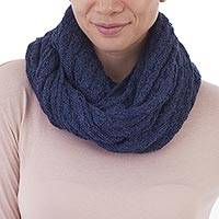 100% baby alpaca infinity scarf, 'Subtle Style in Denim' - 100% Baby Alpaca Infinity Scarf in Denim from Peru