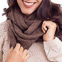 100% baby alpaca infinity scarf, 'Subtle Style in Mushroom' - 100% Baby Alpaca Infinity Scarf in Mushroom from Peru