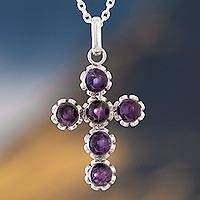 Amethyst pendant necklace, 'Faith Affirmation' - Handcrafted Six-Gemstone Amethyst and Silver Cross Necklace