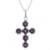 Amethyst pendant necklace, 'Faith Affirmation' - Handcrafted Six-Gemstone Amethyst and Silver Cross Necklace (image 2b) thumbail