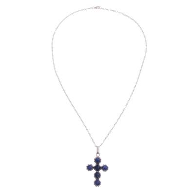 Sodalite cross necklace, 'Faith Affirmation' - Six-Gemstone Sodalite and Silver Handcrafted Cross Necklace