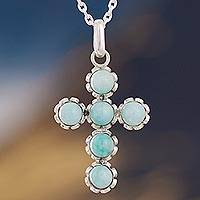 Amazonite cross necklace, 'Faith Affirmation' - Handcrafted Sterling Silver and Amazonite Cross Necklace