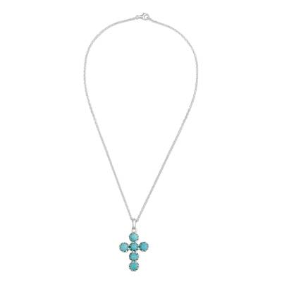 Handcrafted Sterling Silver and Amazonite Cross Necklace