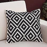 Wool cushion cover, 'Stylish Geometry' - Wool Cushion Cover in Eggshell and Black from Peru