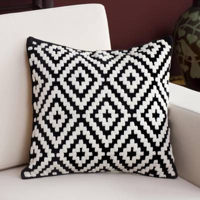 Wool cushion cover, 'Geometric Forms' - Geometric Wool Cushion Cover in Eggshell and Black from Peru