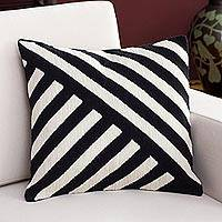 Wool cushion cover, 'Modern Zebra' - Wool Cushion Cover with Diagonal Stripes from Peru