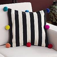 Wool cushion cover, 'Andean Party' - Striped Wool Cushion Cover with Pompoms from Peru