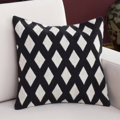 Wool cushion cover, 'Diamond Harmony' - Wool Cushion Cover with Diamond Motifs in Ivory and Black