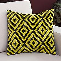 Wool cushion cover, 'Daffodil Diamonds' - Geometric Wool Cushion Cover in Daffodil and Black from Peru