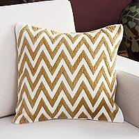 Alpaca blend cushion cover, 'Desert Zigzag' - Alpaca Blend Cushion Cover with Ivory and Caramel Zigzags
