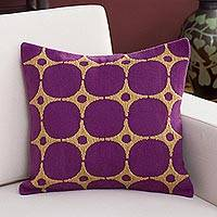 Alpaca blend cushion cover, 'Retro Stars' - Alpaca Blend Cushion Cover in Mulberry and Sand from Peru