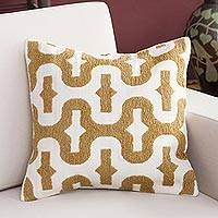 Alpaca blend cushion cover, 'Caramel Waves' - Alpaca Blend Cushion Cover in Caramel and Ivory from Peru