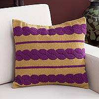 Alpaca blend cushion cover, 'Mulberry Braids' - Alpaca Blend Cushion Cover with Mulberry Braids from Peru