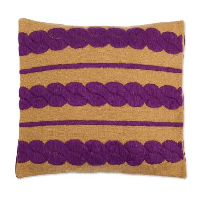 Alpaca Blend Cushion Cover with Mulberry Braids from Peru