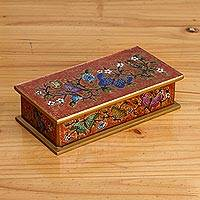 Reverse-painted glass decorative box, 'Glorious Butterflies in Red' - Reverse-Painted Glass Butterfly Decorative Box in Red
