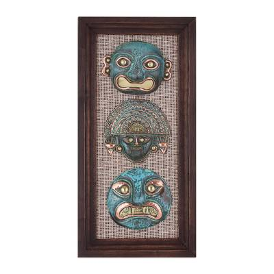 Copper and Bronze Ancient Mask Wall Sculpture from Peru