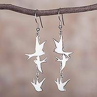 Sterling silver dangle earrings, 'Nighttime Doves'