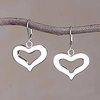 Sterling silver dangle earrings, 'Romantic Style' - Sterling Silver Heart-Shaped Dangle Earrings from Peru