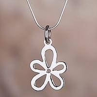 Sterling silver pendant necklace, 'Valley Wind' - Sterling Silver High-Polish Floral Necklace from Peru