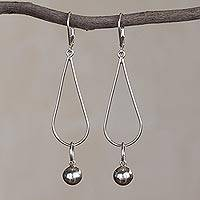 Sterling silver dangle earrings, 'Drops of Perfection' - Sterling Silver Drop-Shaped Dangle Earrings from Peru