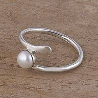 Cultured pearl ring, 'Enchanted Cradle' - Cultured Pearl and 925 Silver Cocktail Ring from Peru