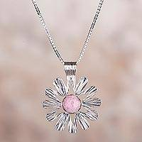 Rhodonite pendant necklace, 'Cosmic Flower' - Rhodonite and 925 Silver Floral Pendant Necklace form Peru