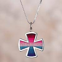 Sterling silver and fabric pendant necklace, 'Divine Dogma' - Sterling Silver and Wool Blend Cross Necklace from Peru
